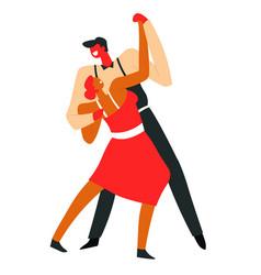 couple dancing tango and performing on dancefloor vector image