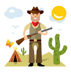 Cowboy with rifle flat style colorful vector