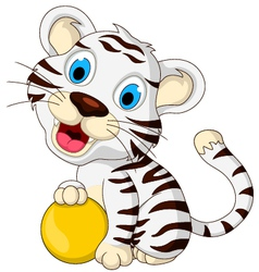 cute baby white tiger posing with yellow ball vector image