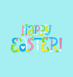 Cute child doodle happy easter greeting card vector