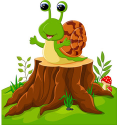 cute snail isolated on tree stump vector image