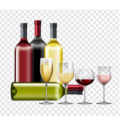 different types of wine and glasses vector image