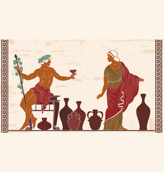 dionysus and ariadne vector image