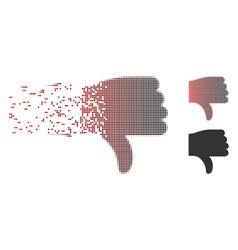 Disintegrating pixel halftone thumb down icon vector
