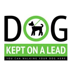 dog walking allowed modern label for city design vector image