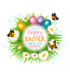 easter sale card with colorful eggs and green vector image