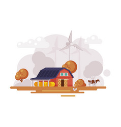 farm scene with red barn house wind turbines and vector image