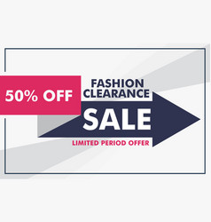 fashion sale banner design with arrow template vector image