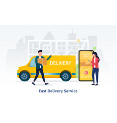 Fast courier delivery service 24-7 concept vector