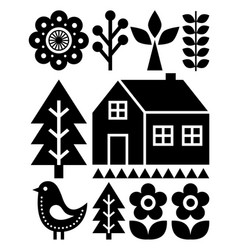 Finnish inspired folk art pattern - scandinavian vector