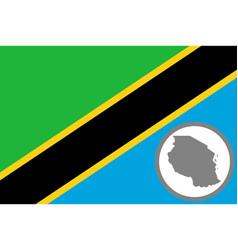 flag and map tanzania vector image
