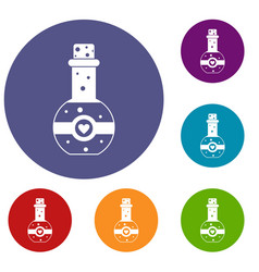 Flask of love elixir icons set vector