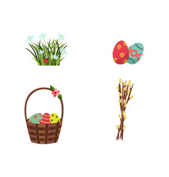 flat easter symbols icon set vector image