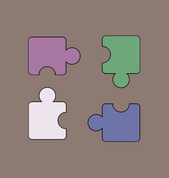 Flat icon design collection kids puzzle vector