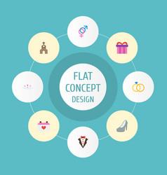Flat icons building bridegroom dress sandal vector