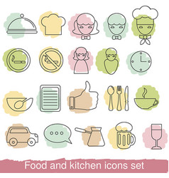 food and kitchen line icons food and kitchen line vector image vector image