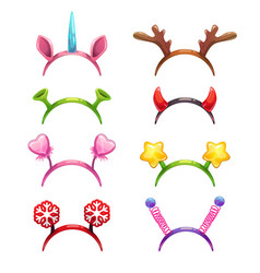 Funny cartoon headbands with horns and ears vector