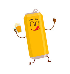 funny smiling beer can character drinking showing vector image