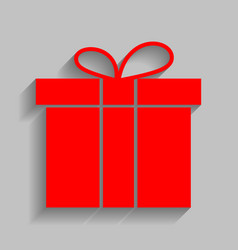 gift box sign red icon with soft shadow vector image vector image