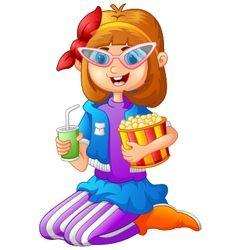 Girl Having Pop Corn and Cold drink vector image