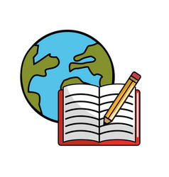 Global planet with open notebook and pencils vector