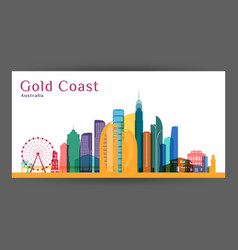 Gold coast city architecture silhouette colorful vector