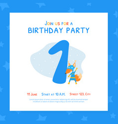 Happy first birthday invitation card template vector