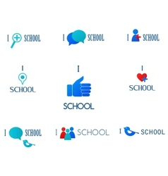 i love schoolsocial network and media icons vector image