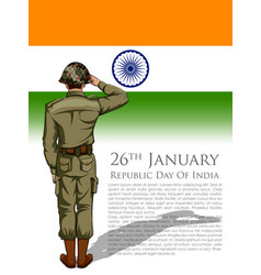 Indian army soilder saluting falg of india vector
