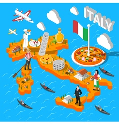 Italy Isometric Sightseeing Map For Tourists vector
