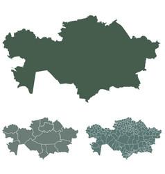 kazakhstan map outline administrative regions vector image