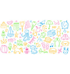 kids doodle hand drawn cute play elements vector image