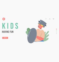 kids having fun landing page template kid making vector image