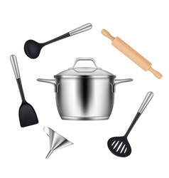 Kitchen objects realistic items for cooking food vector