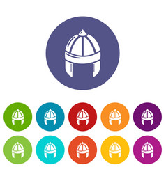 knight helmet guard icons set color vector image