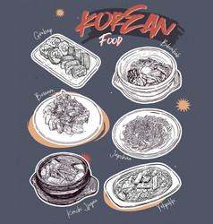 Korean food menu restaurant korean food sketch vector