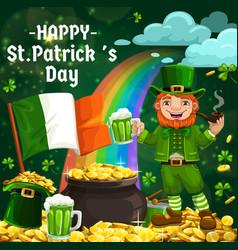 leprechaun hat gold green shamrock patricks day vector image