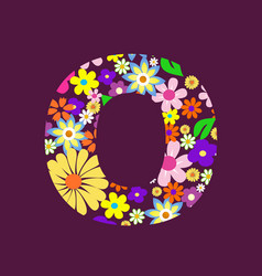 letter of beautiful flowers o vector image