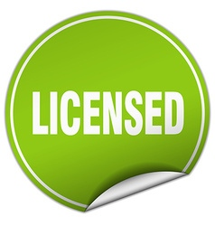 licensed round green sticker isolated on white vector image