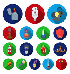 light source flat icons in set collection for vector image