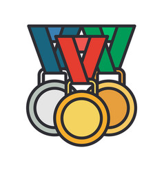 line color medal and winner award icon vector image