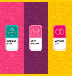 line wedding patterns set vector image
