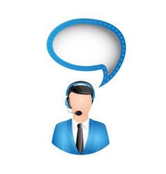 man call center with chat bubble vector image