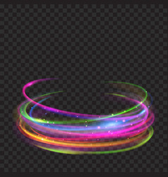 Multicolored glowing fire rings with glitters vector