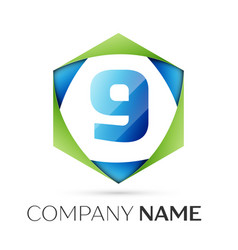 Number nine symbol in colorful hexagonal vector