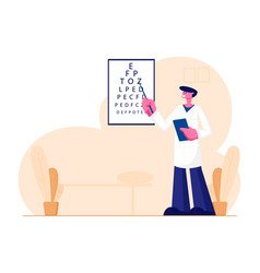 Oculist stand at vision test chart with pointer vector