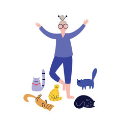 old gray-haired woman practices yoga with her cats vector image