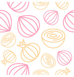 Onion seamless pattern outline vegetable set for vector