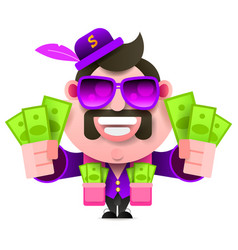 Pimp and money pocket full of cash bright vector