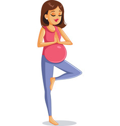 pregnant woman doing prenatal yoga vector image